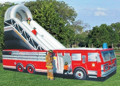 Camion de pompier gonflable