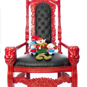 Trône du Père Noël (rouge cuirette noire)